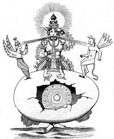 Брахма Праджапати, создатель вселенной. Гравюра начала XIX в.