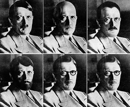Возможно, загримировавшись, Гитлер сумел покинуть пылающий Берлин (фотомонтаж был сделан сотрудниками ФБР в 1945 году).