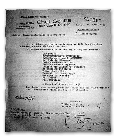 Утверждённый 20 апреля 1945 г. список пассажиров из Берлина в Барселону. Первым — Гитлер, вычеркнуто имя Геббельса, его жены