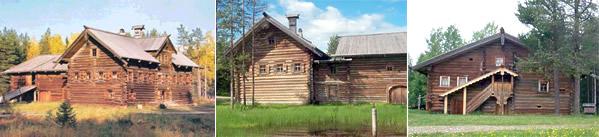 Крестьянские избы в деревне Малые Корелы под Архангельском.